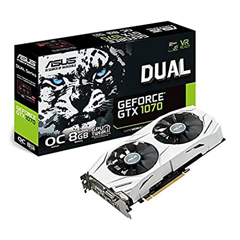 Asus Dual GeForce GTX1070-O8G Gaming Grafikkarte (Nvidia, PCIe 3.0, 8GB GDDR5 Speicher, HDMI, DVI,