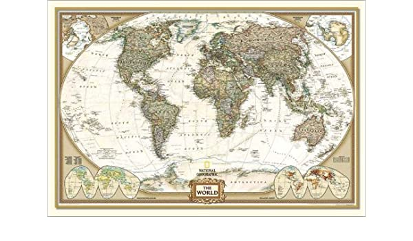 National Geographic Framed Huge Executive World Map Antique Style