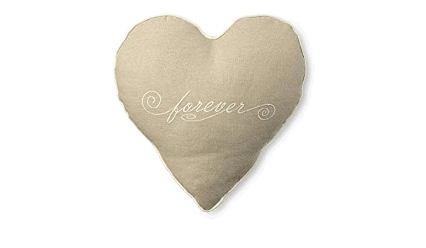Tan Linen Like Cotton Decorative Heart Shaped Embroidered FOREVER Throw Pillow