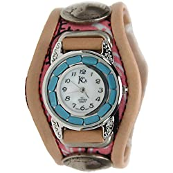 Kc,s Leather Craft Watch Bracelet Three Concho Turquoise Movement Inlay Color Red