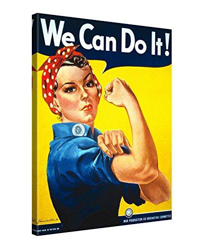 Gallery of Innovative Art - Vintage Art - We Can Do It! - 75x100cm - Larga stampa su tela per decorazione murale - Immagine su tela su telaio in legno - Stampa su tela Giclée - Arazzo decorazione murale