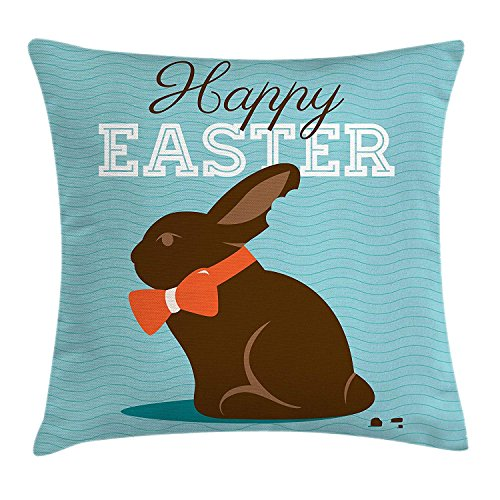 VVIANS Easter Throw Pillow Cushion Cover, Chocolate Bunny with an Orange Bow Tie on a Wavy Stripes Background, Decorative Square Accent Pillow Case, 18 X 18 Inches, Dark Brown Orange Pale Blue Orange Silk Bow Tie