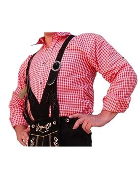 Herren Trachtenhemd Langarm für Lederhose Oktoberfest rot-weiss