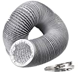 Hon&Guan Condotti Tubo di Ventilazione Flessibile in Alluminio PVC per Aerazione Domestica , Hydroponics (ø100mm*5m, Grigio)
