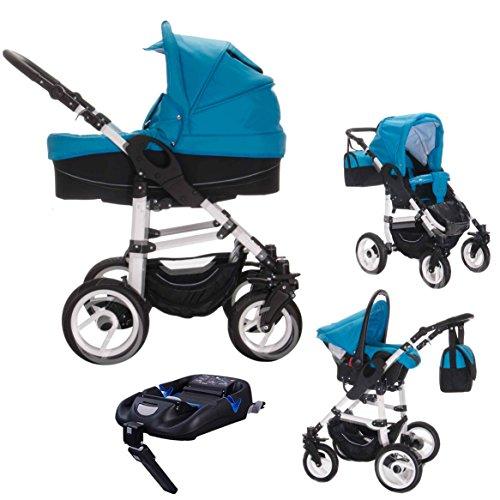 Bebebi Paris | 4 in 1 Kinderwagen Komplettset | ISOFIX Basis & Autositz | Luftreifen | Farbe: Louvre