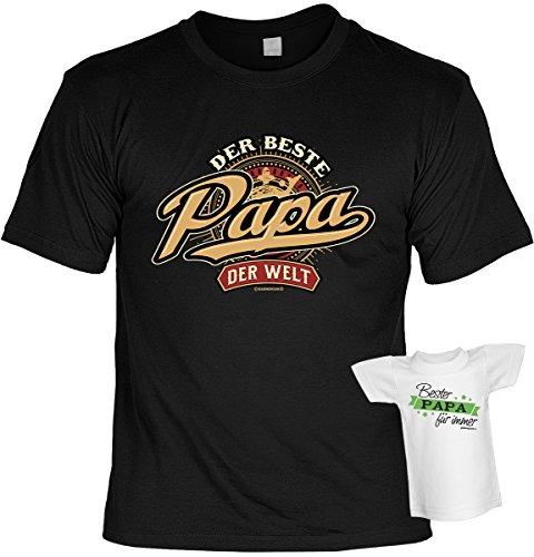 Vatertag T-Shirt Der beste Papa der Welt Geburtstag Shirt bedruckt Geschenk Set mit Mini Flaschenshirt Schwarz