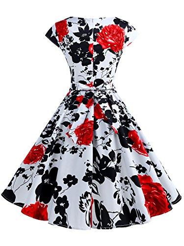 IVNIS Damenkleid Floral Blumen Muster mit Taschen Vintage Kleider ...