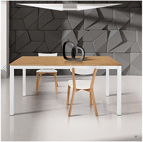 TABLES&CHAIRS tavolo allungabile con piano in rovere e struttura bianca 837