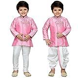 AJ Dezines Kids Indo Western Kurta Pyjamas Dhoti Pant Set for Boys(1905_PINK_6)