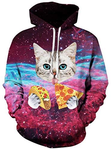 Ocean Plus Herren 3D Kapuzenpullover Hoodie Halloween Cosplay Sweatshirt Hooded Sweat Einzigartig Galaxie Pullover (S/M (Brustumfang: 112-132CM), Katze und Pizza)