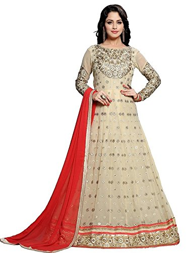 Ethnic Empire Women Georgette Anarkali Semi-Stitched Wedding Salwar Suits For Women (EEND_FlexER10463_Beige_Free Size)