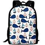 best& Whales Sailboats Anchors Baby School Backpack Bookbag for College Travel Hiking Fit Laptop Water Resistant