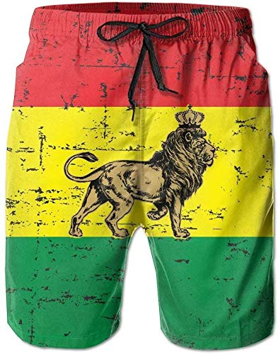 Zengdou Bañador de Hombre Dry Rasta Lion Mens Swim Trunks Funny Surf Board Shorts Beach Pant Sportswear...