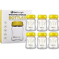 Botellas de leche materna con tapas a prueba de fugas por Max Strength Pro, 180 ml, botellas reutilizables de cuello ancho para la colección de leche materna y solución de almacenamiento, sin BPA