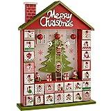 WeRChristmas–Figura Decorativa de casa de Madera Calendario de adviento de Navidad, Rojo, 37cm