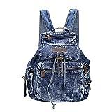 Genda 2Archer Mädchen Rucksack Tote Jeans Campus Rucksack Reisetasche (Dunkel Blau)