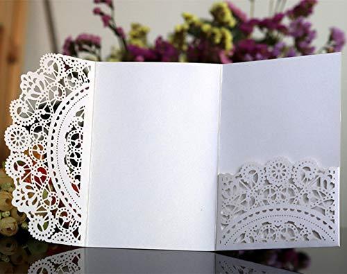 MegOK Laser Cut Wedding Invitations Pocket Party invites for Marriage Graduation Business Customized Printing, White,Customized Printing (Einladungen Pocket White)