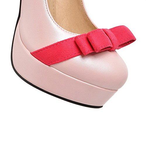 VogueZone009 Femme Tire Rond à Talon Haut Pu Cuir Couleurs Mélangées Chaussures Légeres Rose