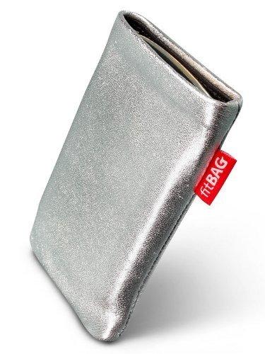 fitBAG Groove Silber Handytasche Tasche aus feinem Folienleder Echtleder mit Microfaserinnenfutter für Samsung SGH-X500