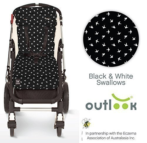 Outlook Universal Cotton Pram Stroller Liner Seat Cushion Pad (Black And White Swallows)