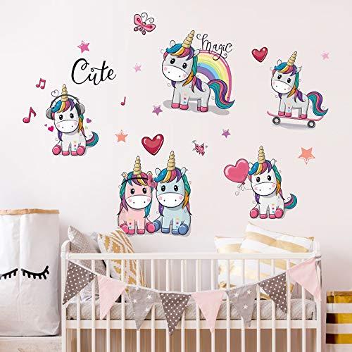 Kibi Unicornio Pegatinas de Pared de Unicornio Para Niñas Niños Dormitorio Pegatinas Unicornio Pared Pegatina de Pared Acuarela Mundo de Unicornio Stickers Unicornio Pared