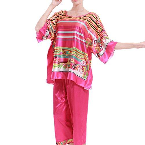Estate Signore Indumento Da Letto Grande Allentato La Stampa Pajama Set Pink