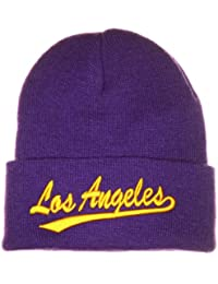 L A Beanie Hat Los Angeles LA Purple Yellow Gold Lakers Style Ski Skull Hat