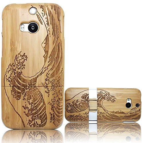 HTC M8 Caso Custodia di legno, Vandot Moda Ultra Sottile Vero legno Naturale Bambu Walnut Intaglio Pattern Wood Hard Back Cover Custodie Protettiva Bumper Caso Shell Per Smartphone HTC M8 - Waves