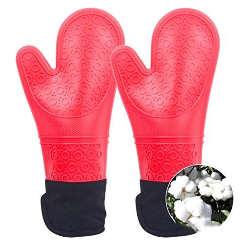 Lengthen Doppel verdicken Hitzebeständige rutschfeste Handschuhe Ofen Handschuhe Mikrowelle Handschuhe ( farbe : Rot ) (Rot Ofen-handschuh Doppel)
