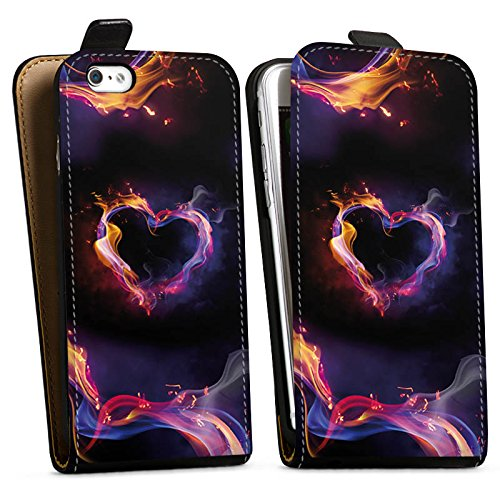 Apple iPhone X Silikon Hülle Case Schutzhülle Liebe Herz Brennendes Herz Downflip Tasche schwarz