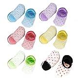 Neonati E Bambini Best Deals - GHB 6 x Calzini per Bambini Calzini Antiscivolo Cotone 6 Colori per 8 - 36 Mesi Neonati e Bambini - 6 Paia Colorati(12cm)