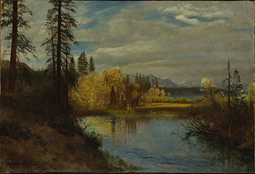 Spiffing Prints Albert Bierstadt - Outlet at Lake Tahoe - Large - Archival Matte - Black Frame