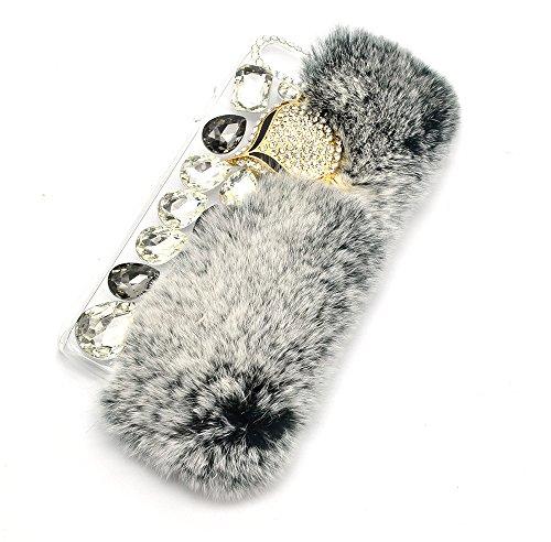 iPhone 6S Hülle, iPhone 6 Hülle, Vandot Handmade Schutzhülle iPhone 6s 6 Case Cover 3D Diamant Rhinestone Bling Kristall Shining Bogen Handgefertigt Handyhülle Transparent TPU Silikon Weich Soft Fell  Grau