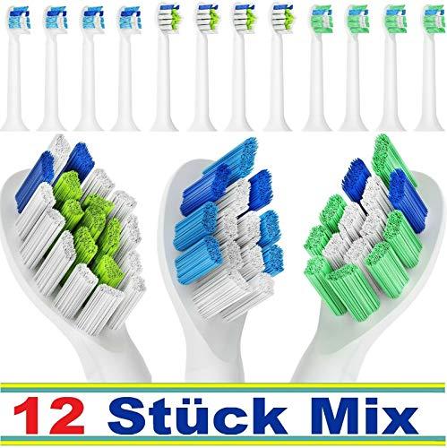 Belmed 12 Stück Mix Packung kompatibel für Philips Sonicare - Ersatzbürsten - Zahnbürstenaufsatz - Aufsteckbürsten aufsätze oral (Oral Sonicare)
