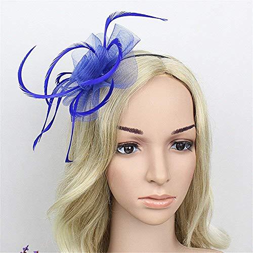 Gib niemals auf Frauenhochzeits-Cocktail-Teeparty der Kopfschmuckblumenmaschenfeder-Haarnadelbrauthaarbandkappendamen der Frauen Elegante (Farbe : Blau)