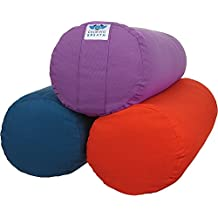 CalmingBreath Yoga Bolster Cuscino a rullo Yoga tondo - Cotone, imbottito di grano saraceno - colori fantastici!