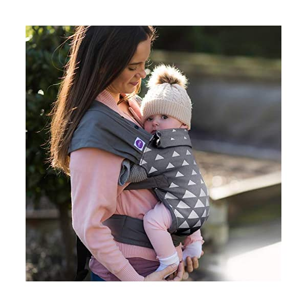 Izmi Special Edition Newborn Baby Carrier, Fully Adjustable with 4 Carrying Positions, Grey Triangle Izmi Use from birth (3.2kg-15kg), new born cushion inserts included with carrier Fully Adjustable body panel, shoulder straps, head rest and seat width to provide comfort to you and your baby Recognised by the International Hip Dysplasia Institute, holds your baby in a comfortable, hip healthy position 3
