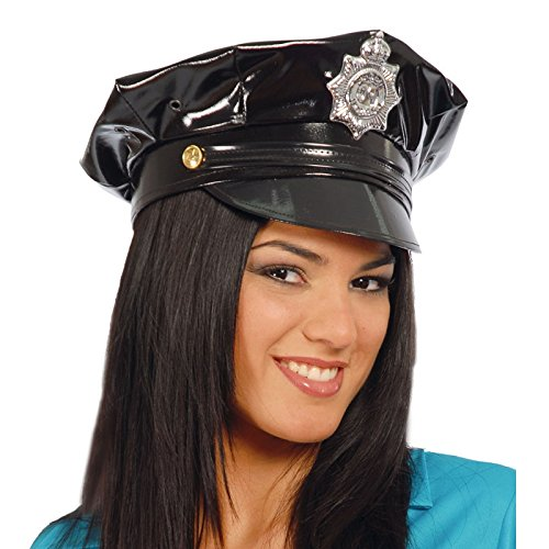 sexy Polizei Mütze im Latex Look für Erwachsene