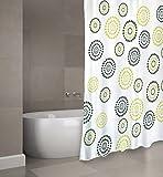 "MSV Cotexsa by Premium Anti-Schimmel Textil Duschvorhang - Anti-Bakteriell, waschbar, 100% wasserdicht, mit 12 Duschvorhangringen - Polyester, ""Dots"" Grün 180x200cm – Made in Spain"