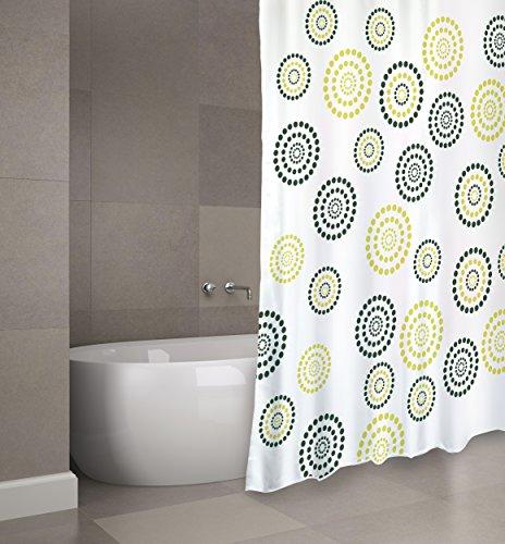 "Cotexsa by MSV Premium Anti-Schimmel Textil Duschvorhang - Anti-Bakteriell, waschbar, 100% wasserdicht, mit 12 Duschvorhangringen - Polyester, ""Dots"" Grün 180x200cm – Made in Spain (Grün Unten)"