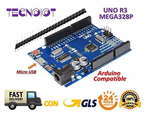 TECNOIOT UNO R3 Tarjeta UNO R3 Placa con Microcontrolador Basada en el ATmega328P ATMEGA16U2 Compatible con Arduino UNO Tarjeta