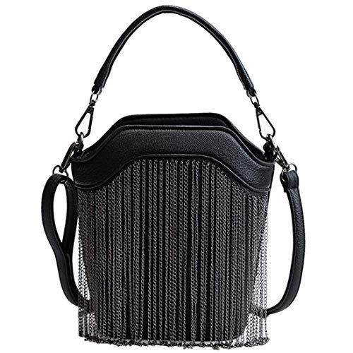 Nuanxin Damen Handtasche, Handgemachte Perlen Dinner Bag, Vintage Tote, Partykleid, Schultergurt: 118CM Verstellbar Schwarz U10