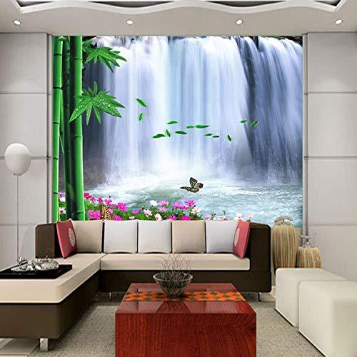 Bambus Wasserfall (BXZGDJY Selbstklebendes Wandbild 3D Wandkunst (B) 300X (H) 210Cm Bambus Wasserfall Fototapete Natur Landschaft Tapete Raumwand Schlafzimmer Wohnzimmer Hintergrund)