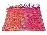 Agas Own Indischer Seidenschal Schal 100% Seide jacquard gewebt elegante Farben mit Fransen 75 x 185 cm Indische/Paisley Muster Seidentuch - VIELE MUSTER (Pink-Blau Mix)