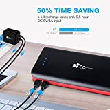 EC Technology 22400mAh Power Bank Ultra High Capacity External Battery 3 USB Output(5.5A) Powerbank Dual Input Port (4A) Portable Charger with Auto IC for iPhone, iPad, Samsung, Nexus and More, Black and Red