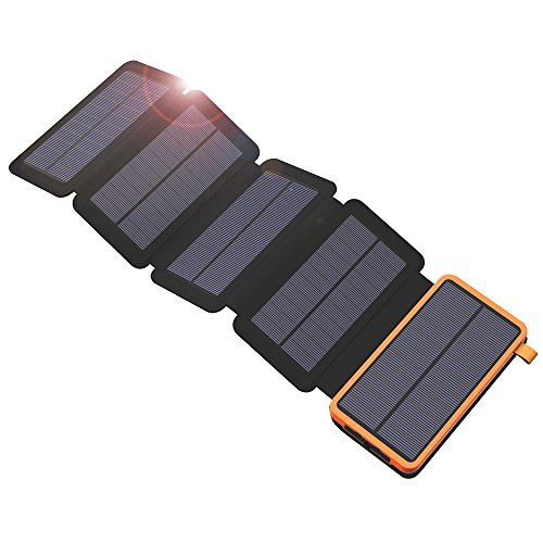 X-DRAGON caricatore solare Power Bank 20000 mAh con 5 pannelli solari, Dual USB, torcia LED portatile impermeabile esterna batteria di backup per iPhone, telefoni cellulari, iPad, tablet e più