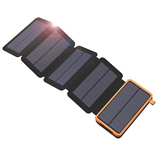 X-DRAGON caricatore solare Power Bank 20000mAh con 5pannelli solari, Dual USB, torcia LED portatile impermeabile esterna batteria di backup per iPhone, telefoni cellulari, iPad, tablet e più