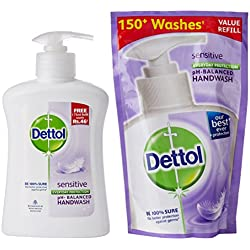 Dettol Liquid Soap - 200 ml (Sensitive ) with Free Liquid Hand Wash - 185 ml (Orginal)