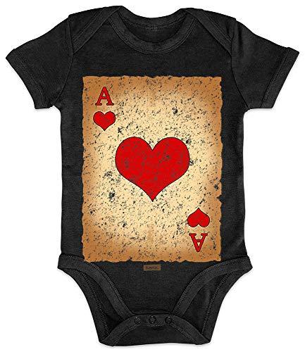 HARIZ Baby Body Kurzarm Spielkarte Herz Ass Karneval Kostüm Plus Geschenkkarte Pinguin Schwarz 3-6 Monate
