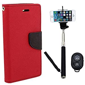 Aart Fancy Diary Card Wallet Flip Case Back Cover For HTC820 - (Red) + Remote Aux Wired Fashionable Selfie Stick Compatible for all Mobiles Phones By Aart Store